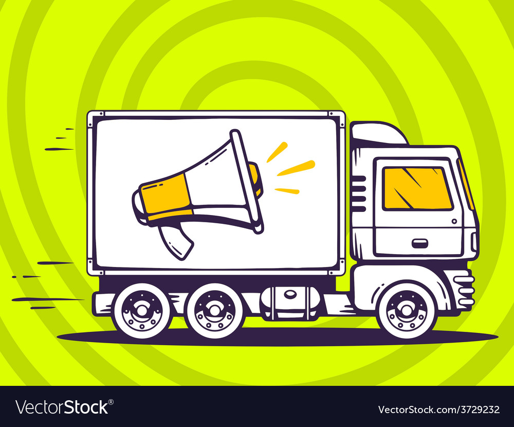 Truck free and fast delivering megaphone vector | Price: 1 Credit (USD $1)