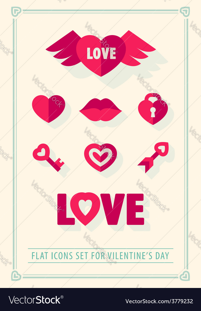 Valentines day love icons set vector | Price: 1 Credit (USD $1)
