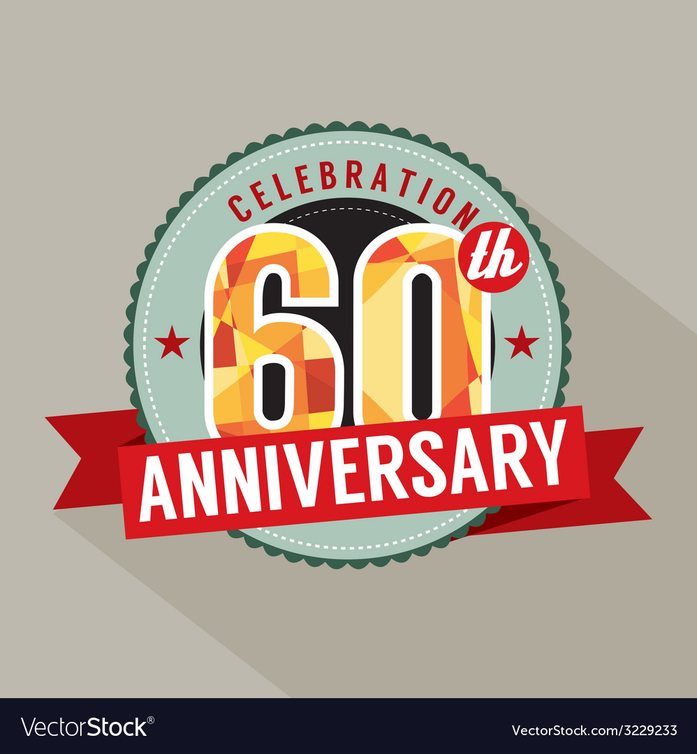 60th years anniversary celebration design vector | Price: 1 Credit (USD $1)