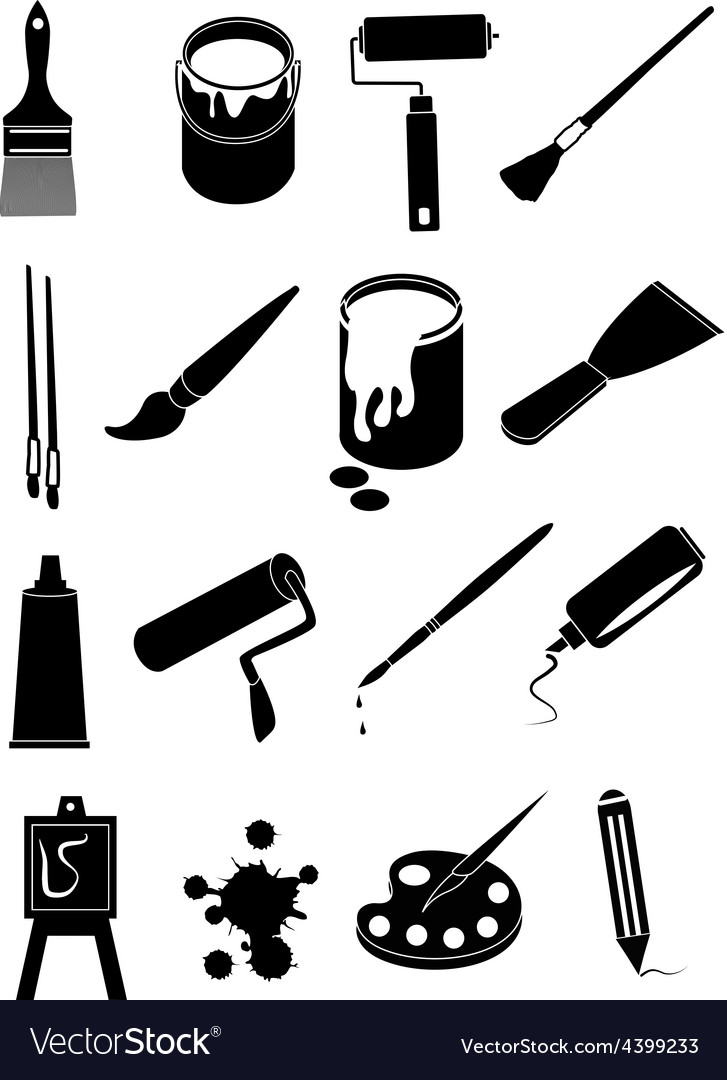 Art painting icons set vector | Price: 3 Credit (USD $3)