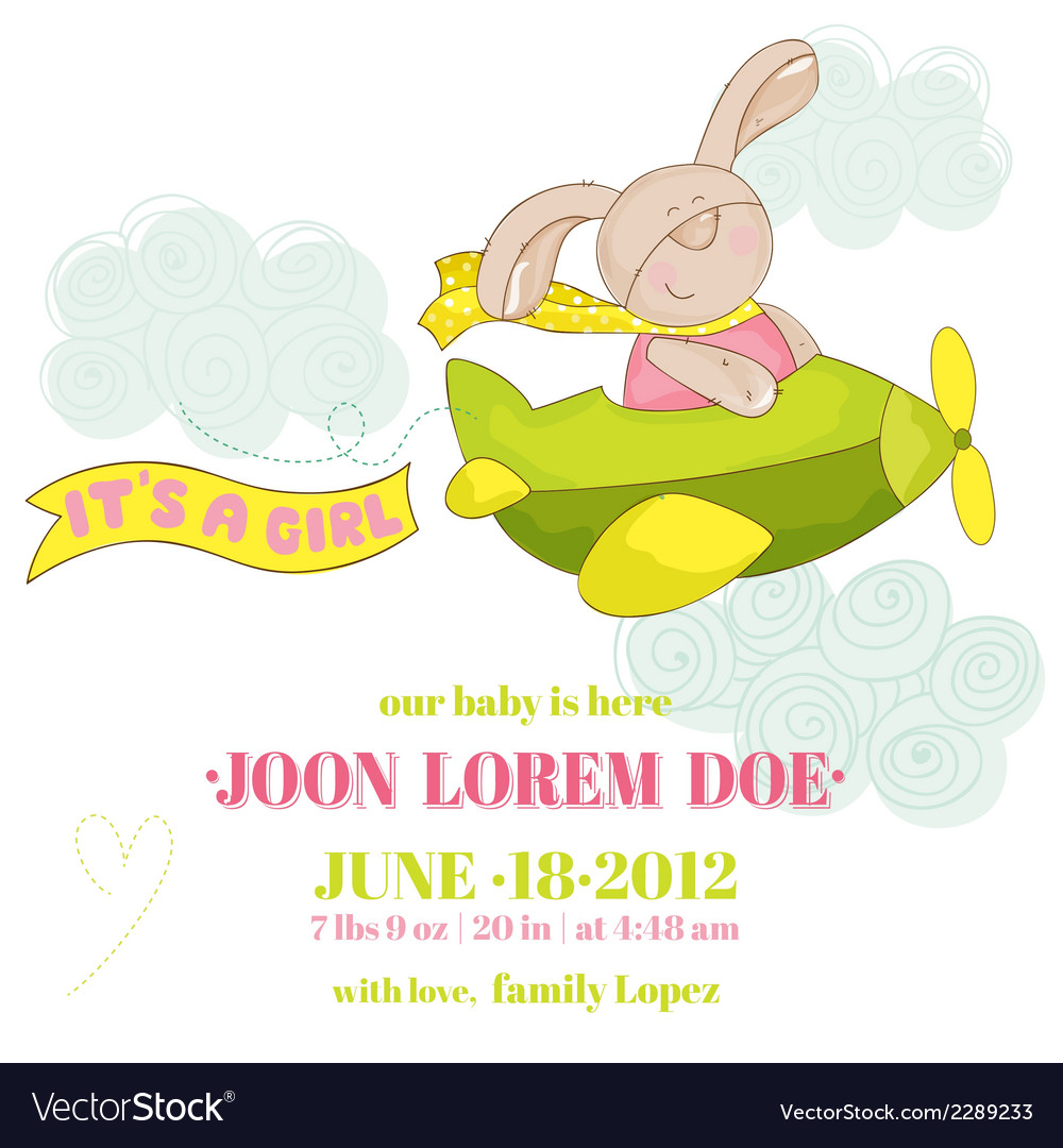 Baby bunny on a plane - baby shower card vector | Price: 1 Credit (USD $1)