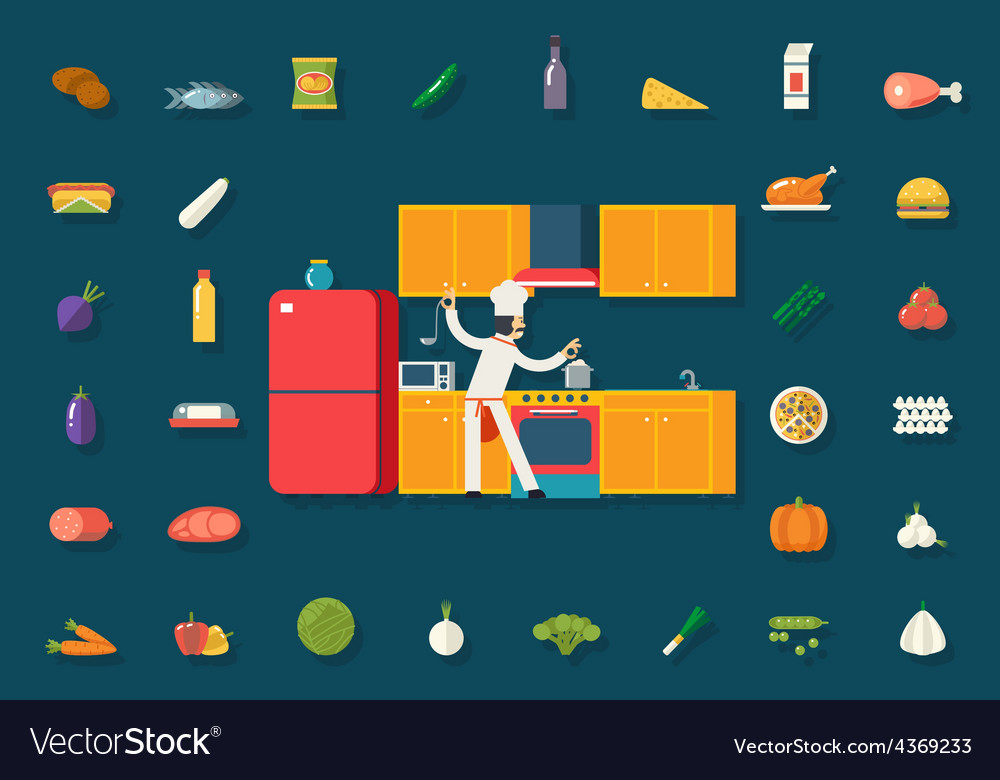 Chief cook food and dish room kitchen furniture vector | Price: 1 Credit (USD $1)