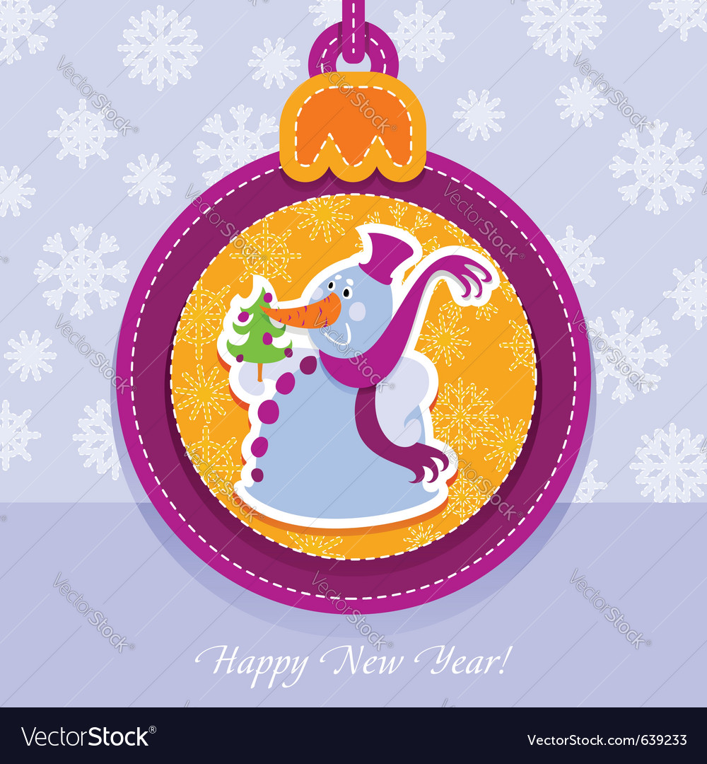 Christmas ball postcard snowman with fir-tree vector | Price: 1 Credit (USD $1)