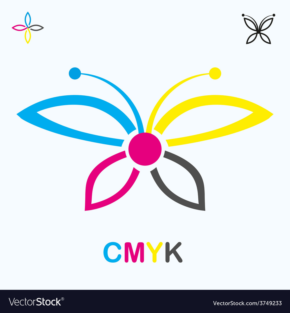 Cmyk icon in shape of a butterfly vector | Price: 1 Credit (USD $1)