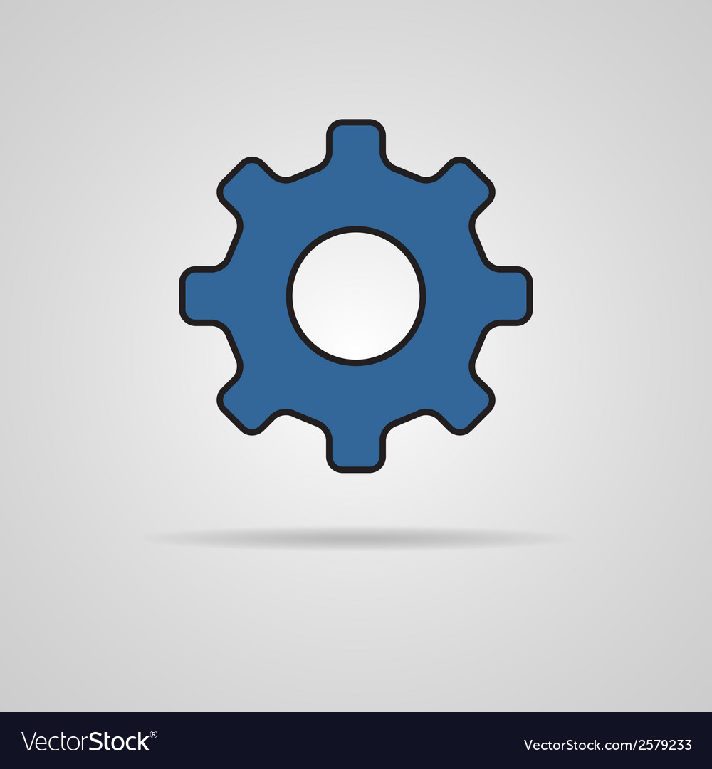 Cog icon with shadow vector | Price: 1 Credit (USD $1)