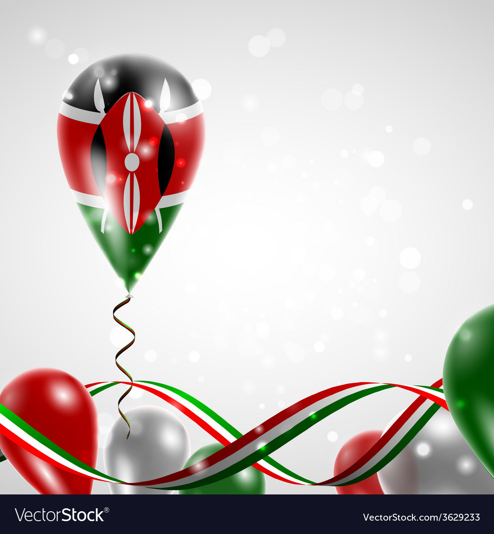 Flag of kenya on balloon vector | Price: 1 Credit (USD $1)