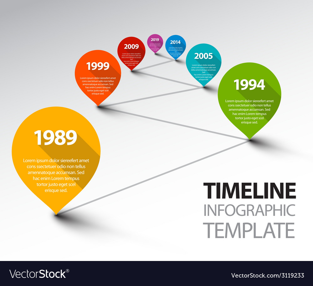 Fresh infographic timeline template with pointers vector | Price: 1 Credit (USD $1)