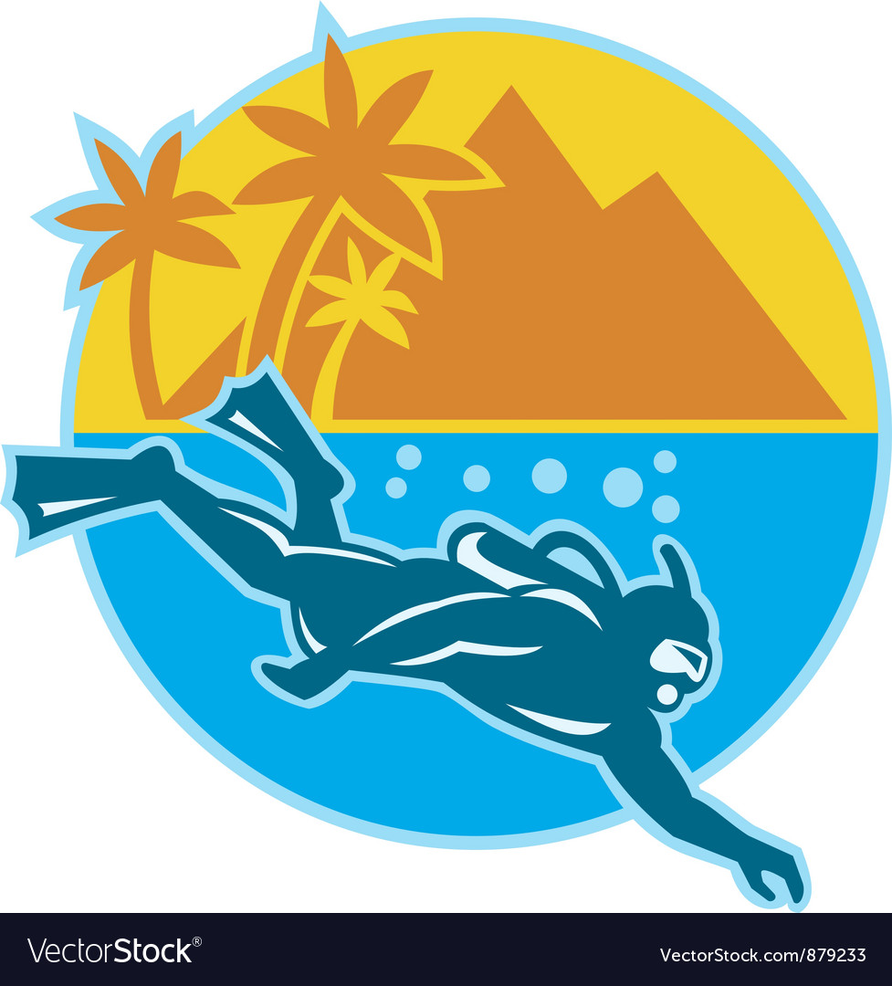 Scuba diver diving island retro vector | Price: 1 Credit (USD $1)