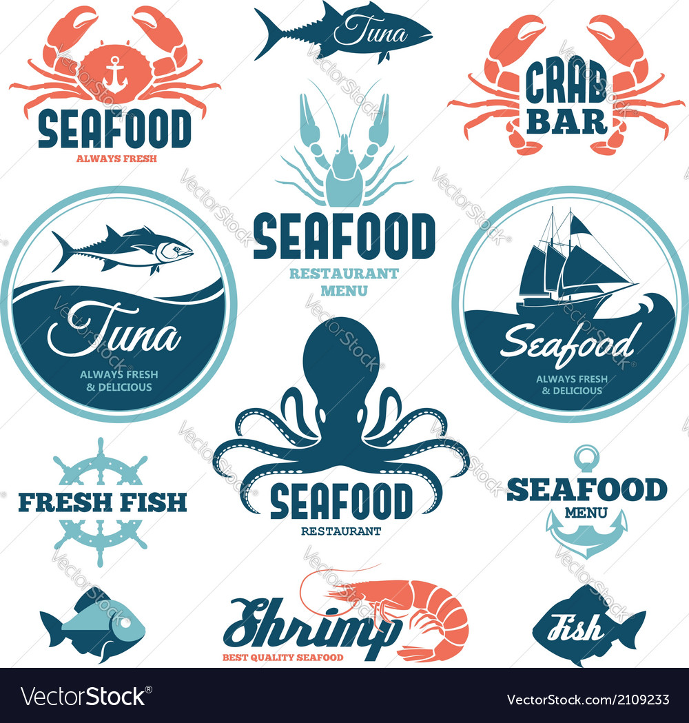Seafood labels vector | Price: 1 Credit (USD $1)