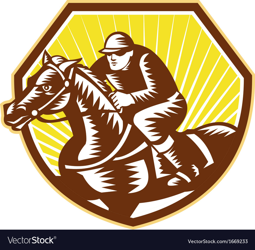 Thoroughbred horse racing woodcut retro vector | Price: 1 Credit (USD $1)