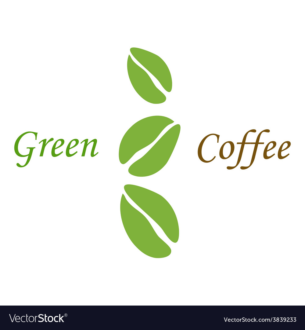 Three green coffee beans on white vector | Price: 1 Credit (USD $1)