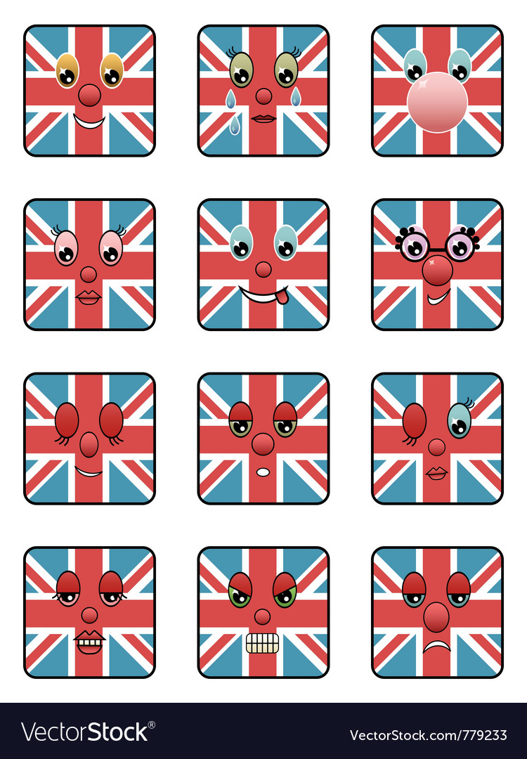 Union jack emoticons vector | Price: 1 Credit (USD $1)