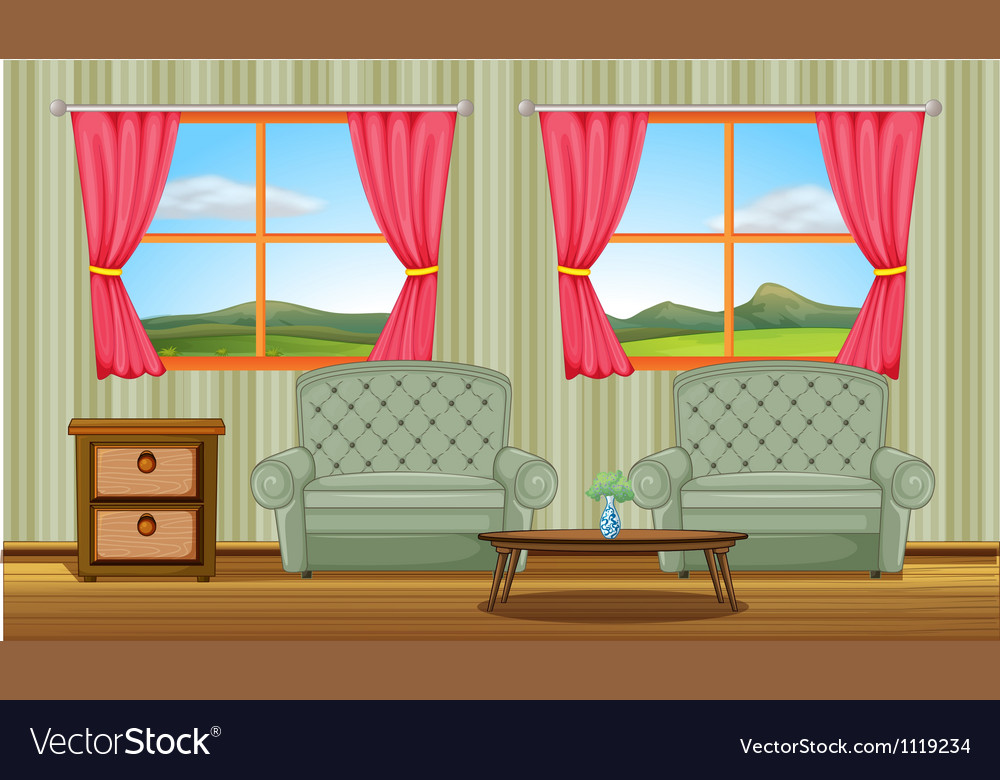 A cushion chairs and side table vector | Price: 1 Credit (USD $1)