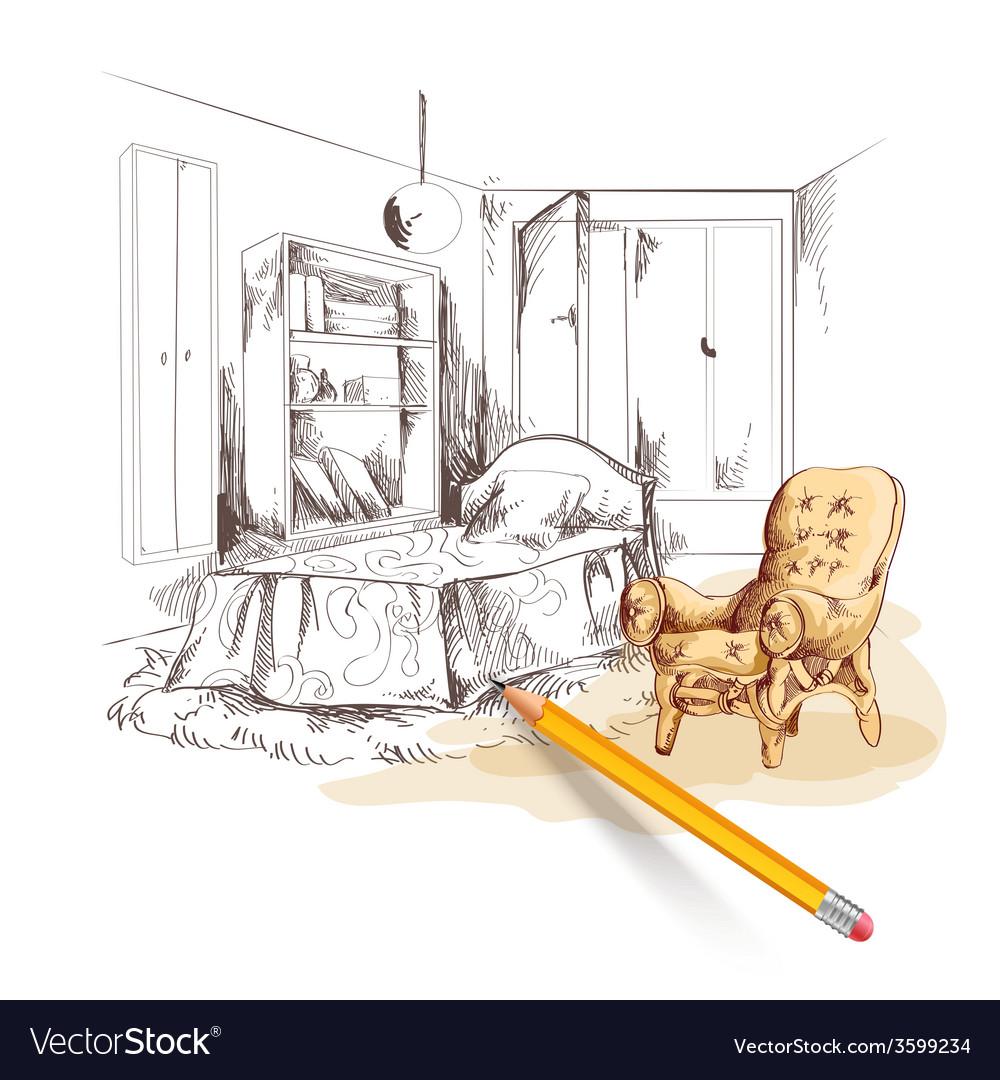 Bedroom sketch interior vector | Price: 1 Credit (USD $1)