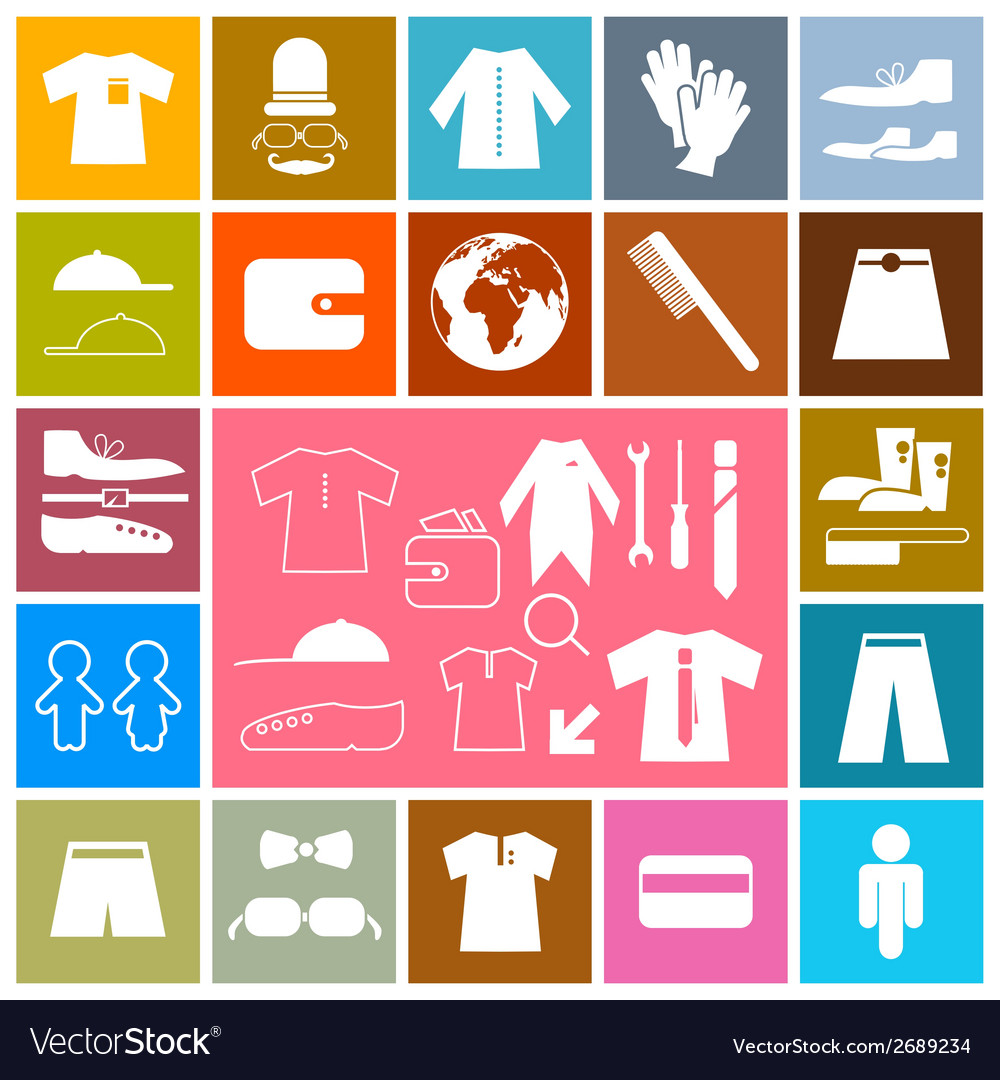 Clothing - fashion colorful square flat icons set vector | Price: 1 Credit (USD $1)