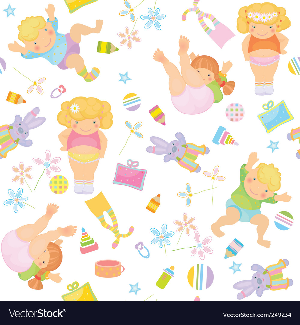 Cute pattern of funny kids vector | Price: 1 Credit (USD $1)