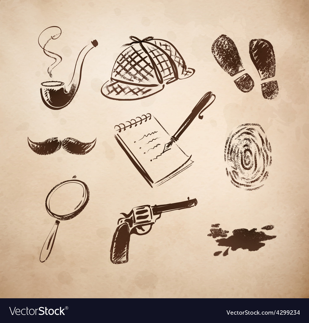 Detective sketch icons set vector | Price: 1 Credit (USD $1)