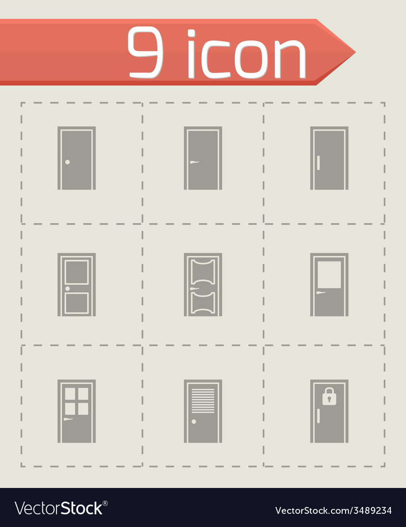 Door icon set vector | Price: 1 Credit (USD $1)