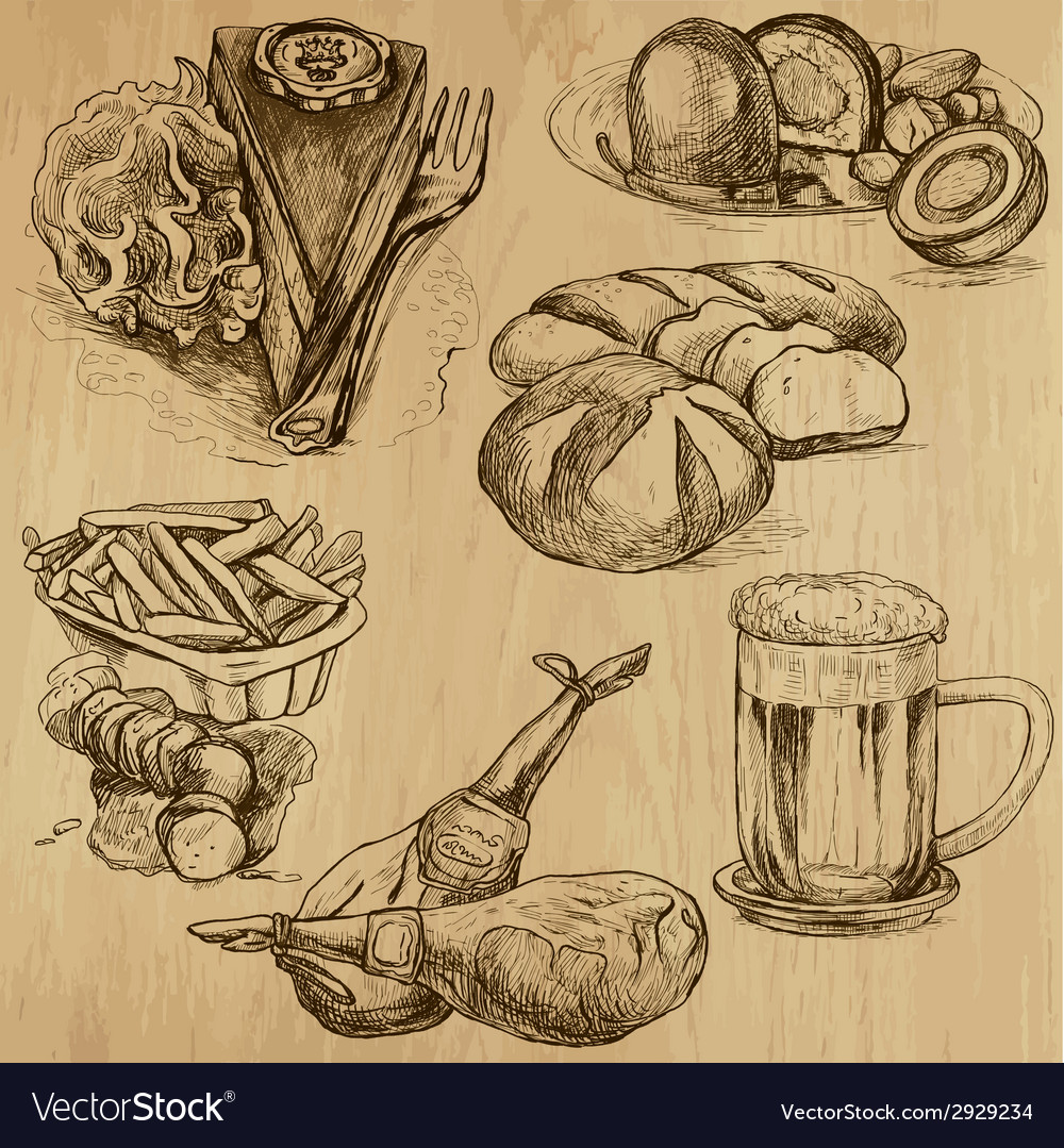 Food - an hand drawn pack vector | Price: 1 Credit (USD $1)