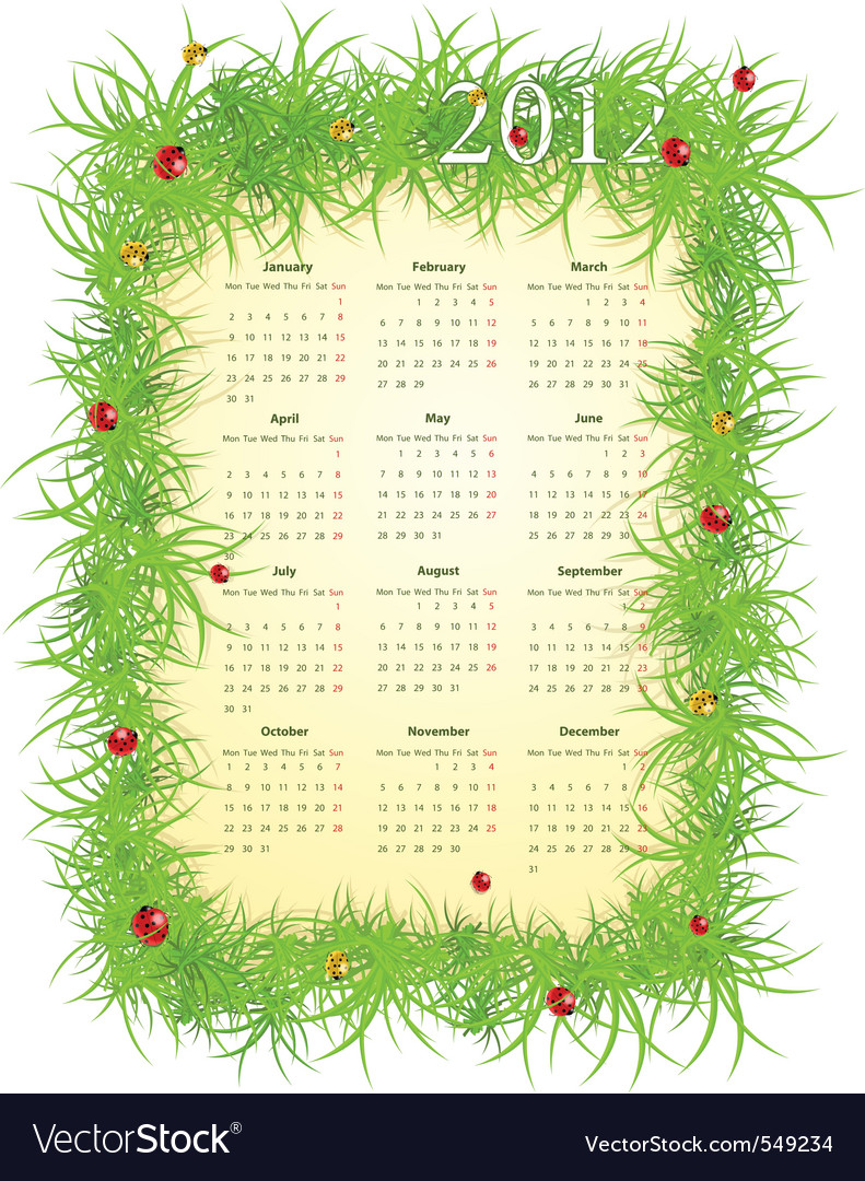 illustration of spring 2012 calendar starti vector | Price: 1 Credit (USD $1)