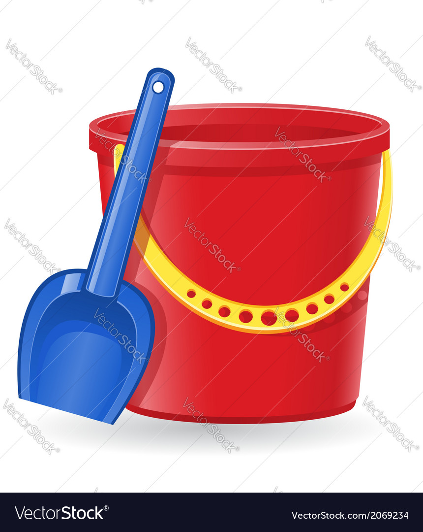 Plastic bucket and shovel 01 vector | Price: 1 Credit (USD $1)