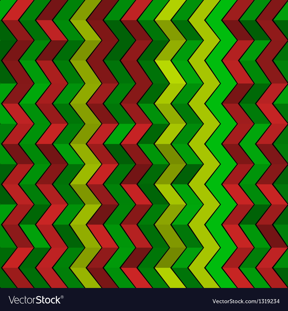 Seamless geometric green red and yellow pattern vector | Price: 1 Credit (USD $1)
