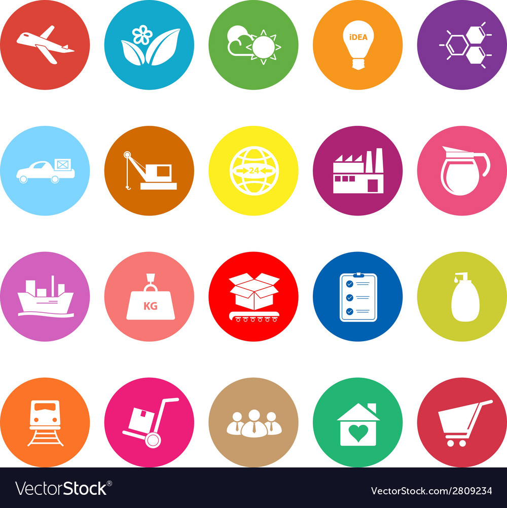 Supply chain and logistic flat icons on white vector | Price: 1 Credit (USD $1)
