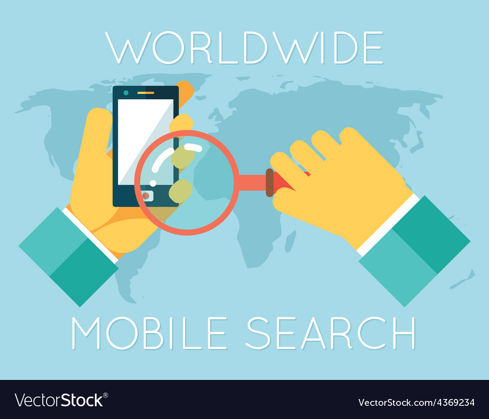 Worldwide mobile search hands phone magnifying vector | Price: 1 Credit (USD $1)