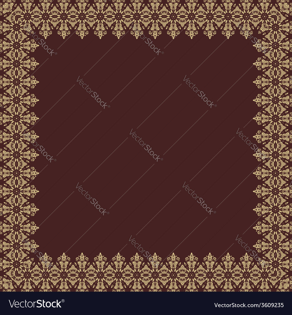 Floral pattern abstract golden frame vector | Price: 1 Credit (USD $1)