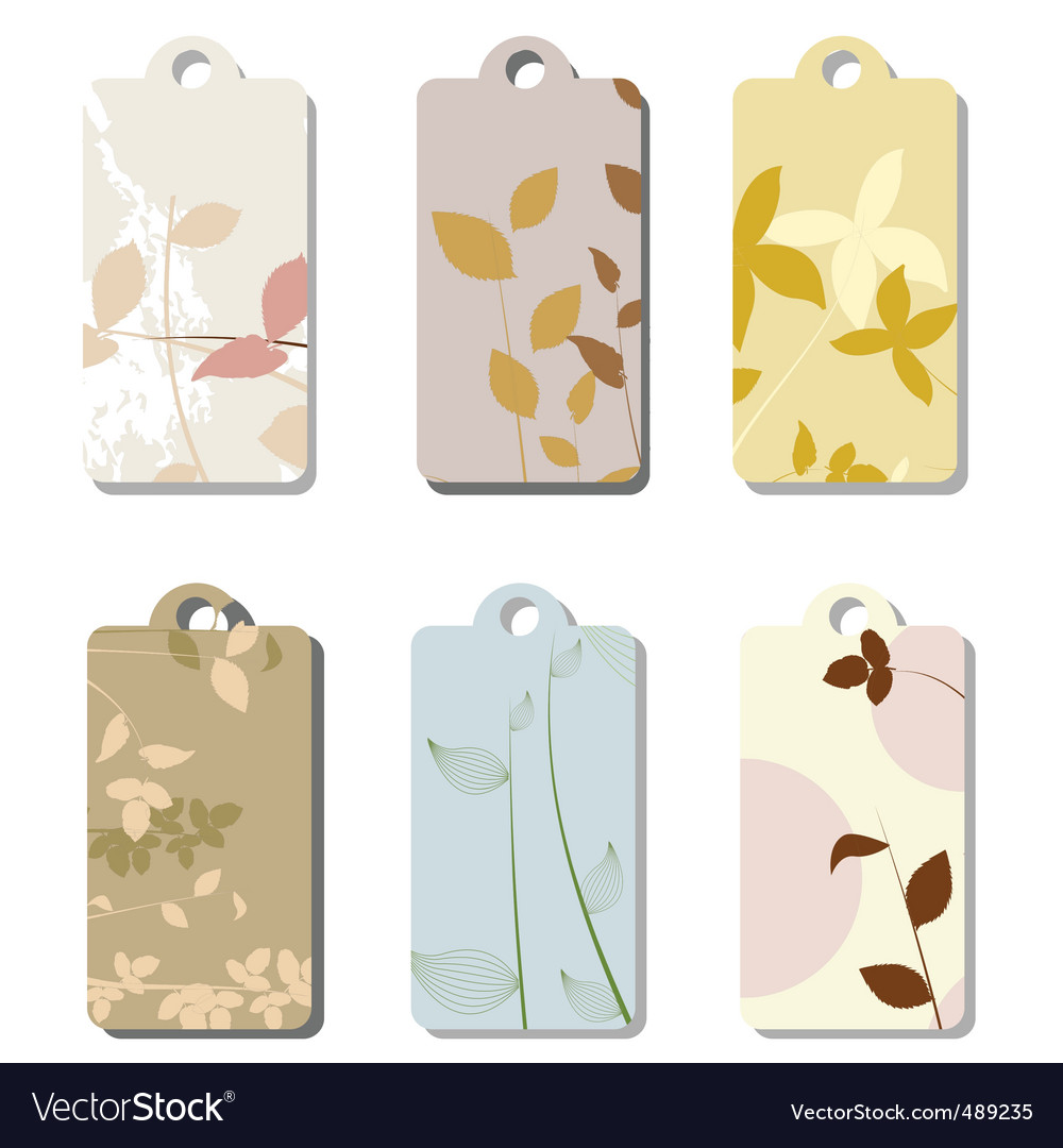 Floral tag set vector | Price: 1 Credit (USD $1)