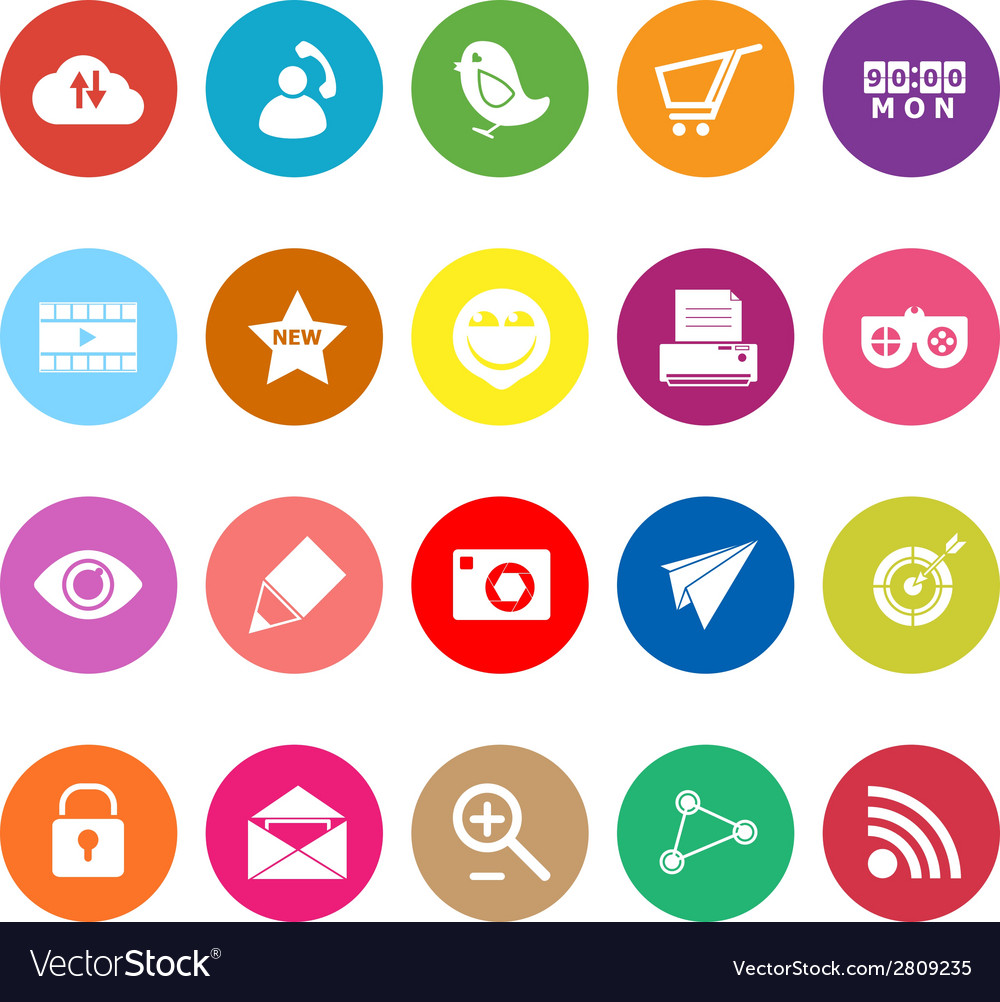 Internet useful flat icons on white background vector | Price: 1 Credit (USD $1)