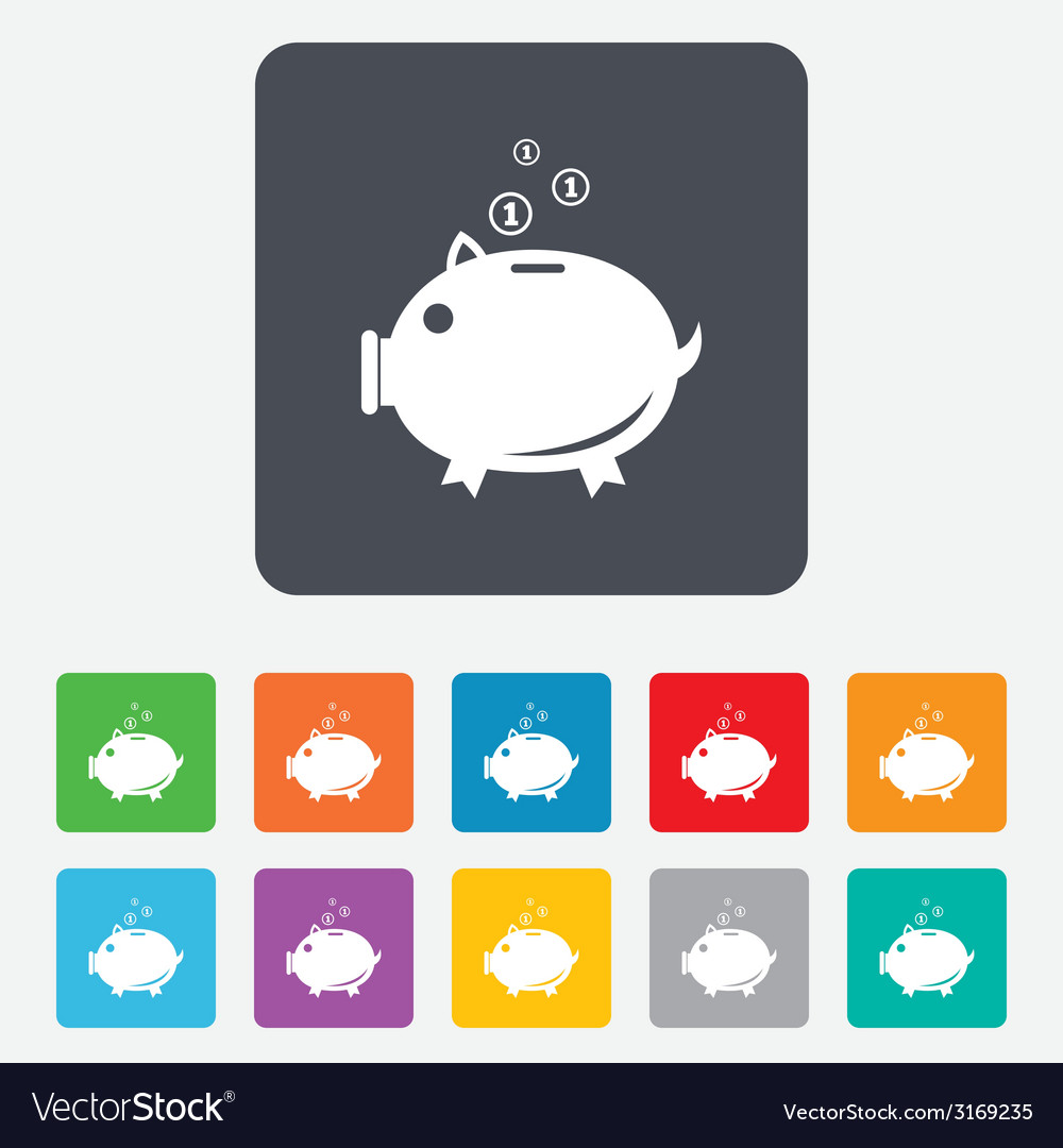 Piggy bank sign icon moneybox symbol vector   Price: 1 Credit (USD $1)