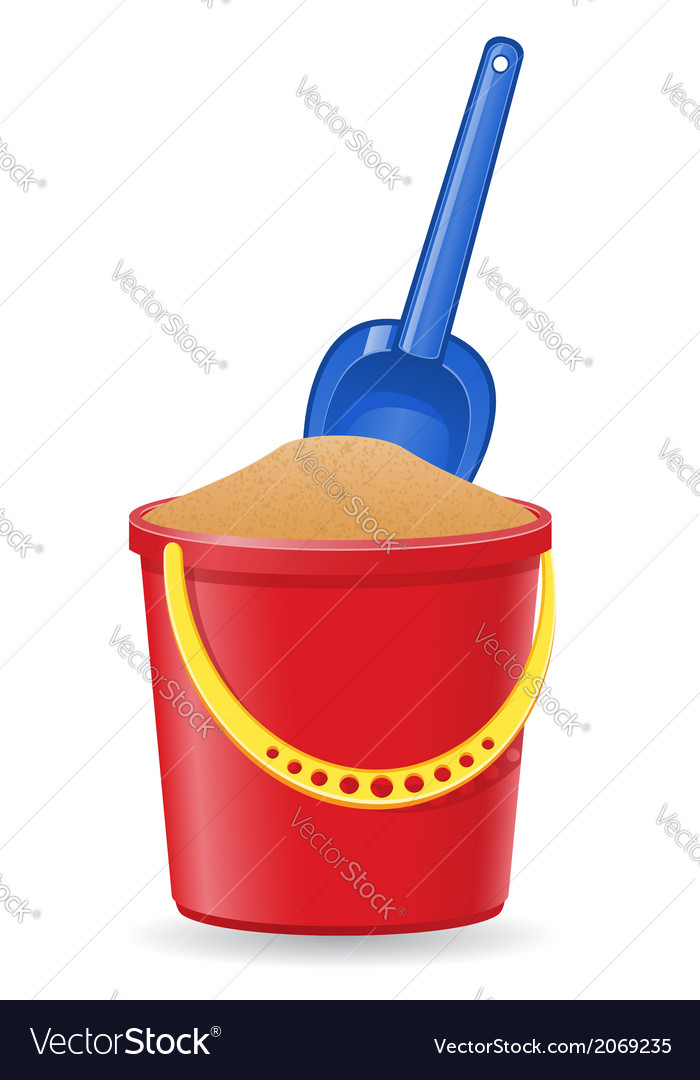 Plastic bucket and shovel 02 vector | Price: 1 Credit (USD $1)