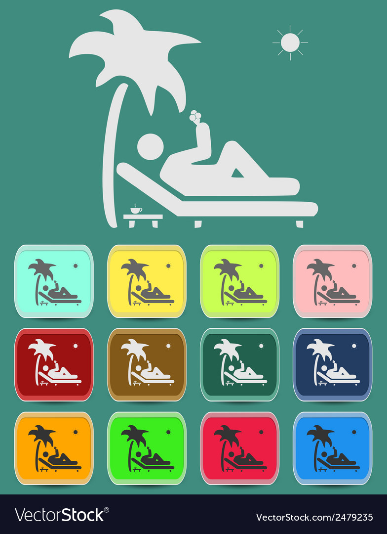 Relax under an palm on a lounger vector | Price: 1 Credit (USD $1)
