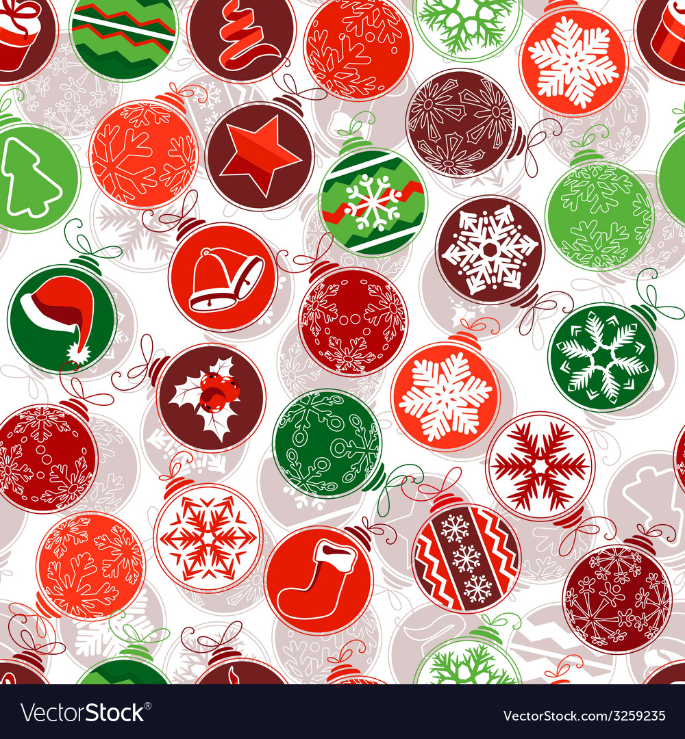 Seamless christmas pattern with simple contour vector | Price: 1 Credit (USD $1)