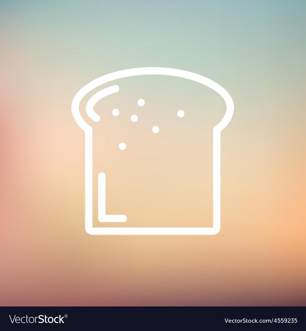 Single slice of bread thin line icon vector   Price: 1 Credit (USD $1)