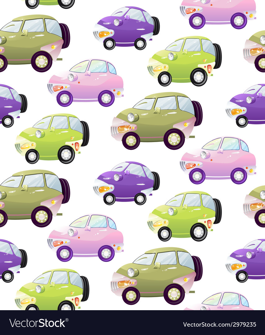Texture with cute cartoon car with the headlights vector | Price: 1 Credit (USD $1)