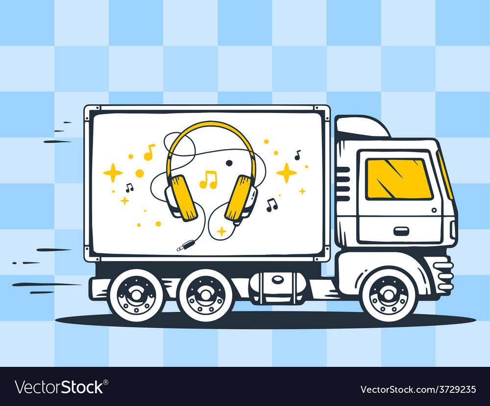 Truck free and fast delivering headphones vector | Price: 1 Credit (USD $1)