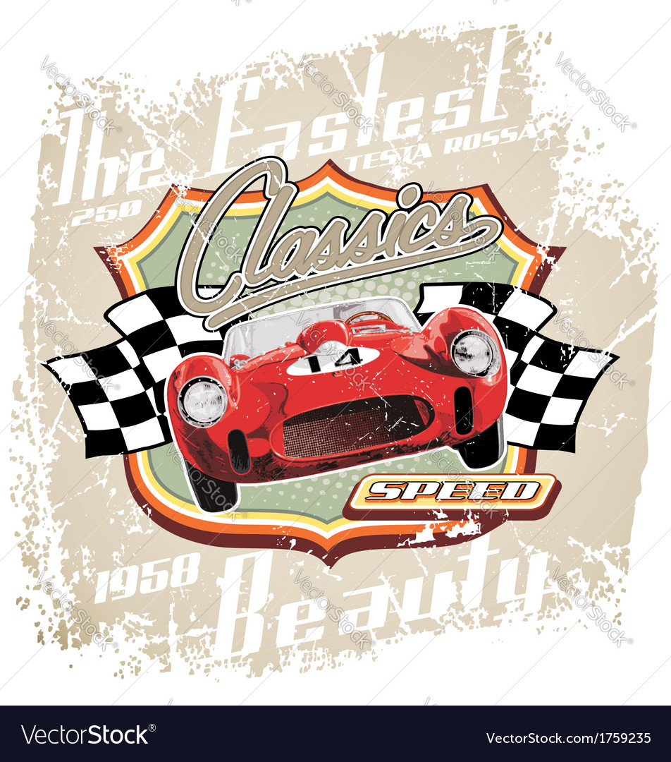 Vintage fastest car vector | Price: 3 Credit (USD $3)