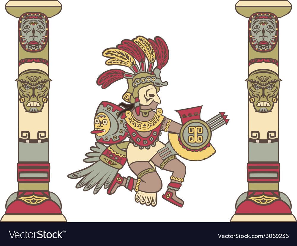 Aztec god between columns colored vector | Price: 1 Credit (USD $1)