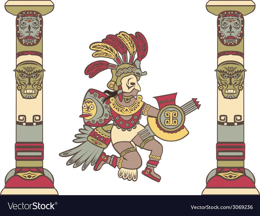 Aztec god between columns colored vector | Price: 1 Credit (USD $1)