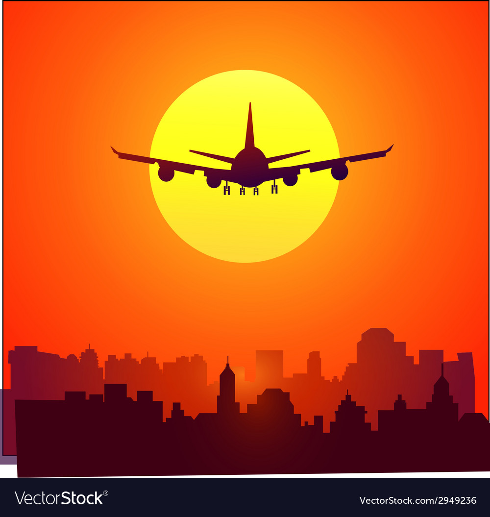 City sunset and afternoon flight vector | Price: 1 Credit (USD $1)