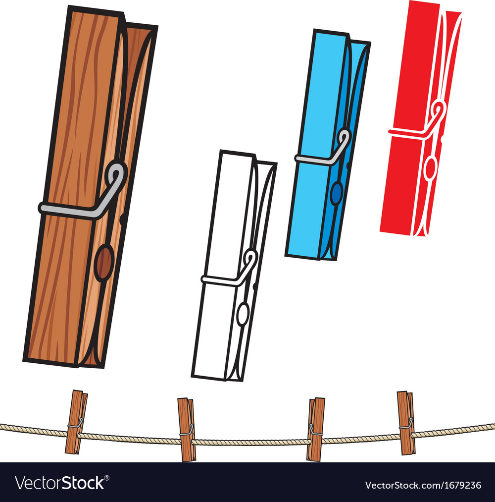 Clothespin and rope vector | Price: 1 Credit (USD $1)