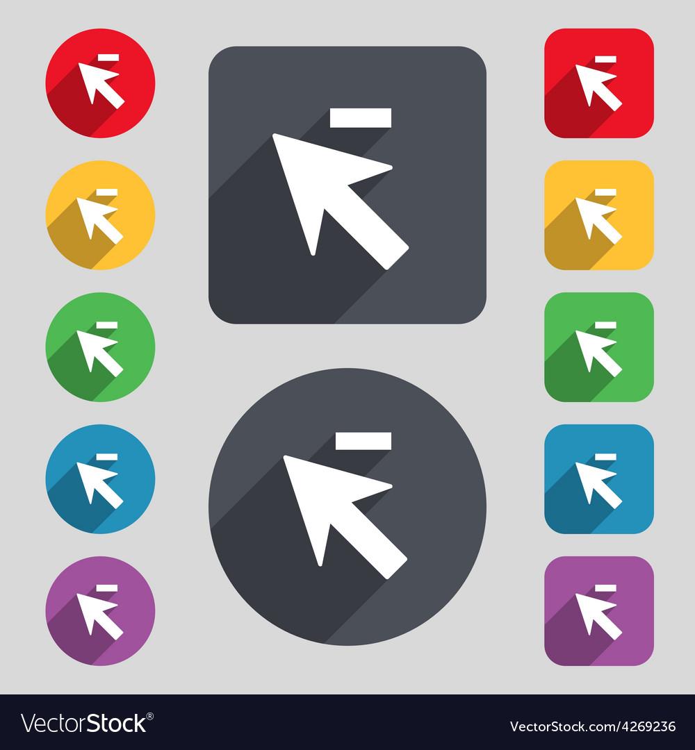 Cursor arrow minus icon sign a set of 12 colored vector | Price: 1 Credit (USD $1)
