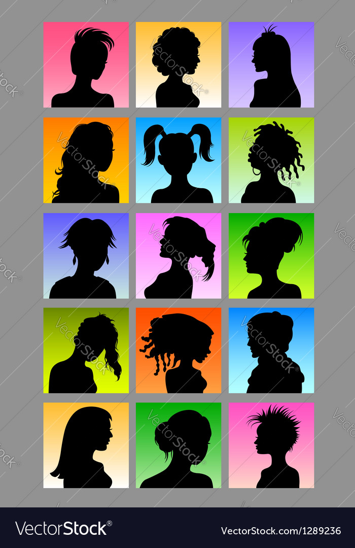 Female avatar silhouettes set vector | Price: 1 Credit (USD $1)