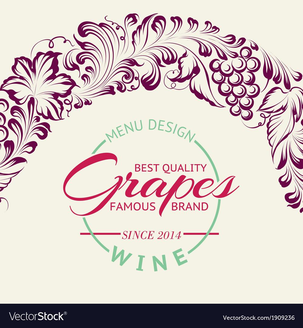 Grapes design for wine menu vector | Price: 1 Credit (USD $1)