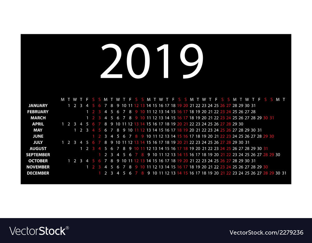 Horizontal calendar for 2019 vector | Price: 1 Credit (USD $1)