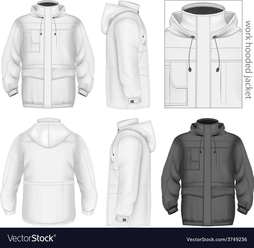 Men work hooded jacket vector | Price: 3 Credit (USD $3)