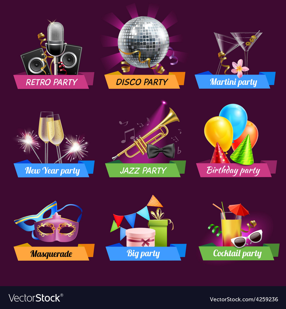 Party emblems set vector | Price: 1 Credit (USD $1)
