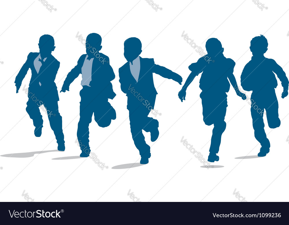 Primary school boys running outside vector | Price: 1 Credit (USD $1)